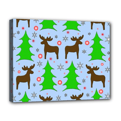 Reindeer And Xmas Trees  Canvas 14  X 11  by Valentinaart