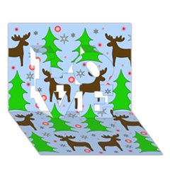 Reindeer And Xmas Trees  Love 3d Greeting Card (7x5)