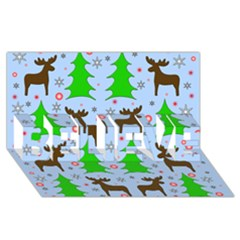 Reindeer And Xmas Trees  Believe 3d Greeting Card (8x4) by Valentinaart