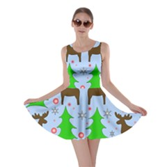 Reindeer And Xmas Trees  Skater Dress by Valentinaart