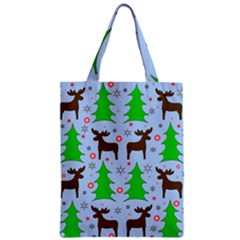Reindeer And Xmas Trees  Zipper Classic Tote Bag by Valentinaart