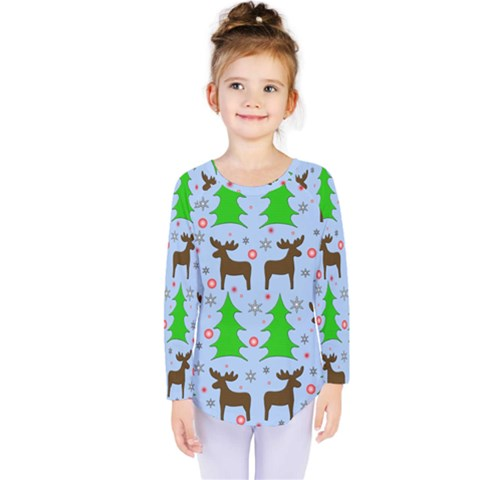 Reindeer And Xmas Trees  Kids  Long Sleeve Tee by Valentinaart