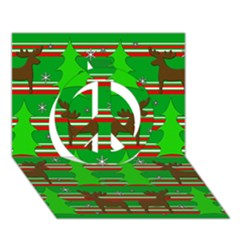Christmas Trees And Reindeer Pattern Peace Sign 3d Greeting Card (7x5)
