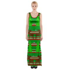 Christmas Trees And Reindeer Pattern Maxi Thigh Split Dress by Valentinaart