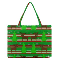 Christmas Trees And Reindeer Pattern Medium Zipper Tote Bag by Valentinaart