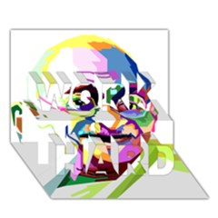 Ghandi Work Hard 3d Greeting Card (7x5) by bhazkaragriz