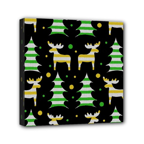 Decorative Xmas Reindeer Pattern Mini Canvas 6  X 6