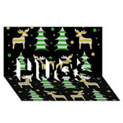 Decorative Xmas Reindeer Pattern Hugs 3d Greeting Card (8x4)