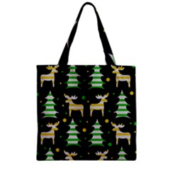 Decorative Xmas Reindeer Pattern Zipper Grocery Tote Bag by Valentinaart