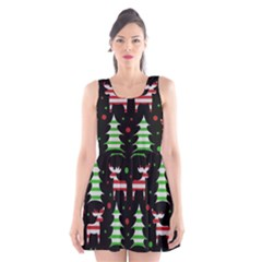 Reindeer Decorative Pattern Scoop Neck Skater Dress by Valentinaart