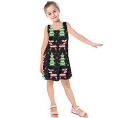 Reindeer Decorative Pattern Kids  Sleeveless Dress