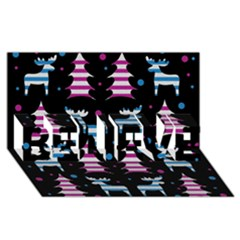 Blue And Pink Reindeer Pattern Believe 3d Greeting Card (8x4)