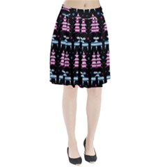 Blue And Pink Reindeer Pattern Pleated Skirt by Valentinaart