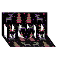 Reindeer Magical Pattern Mom 3d Greeting Card (8x4)