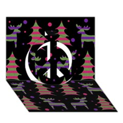 Reindeer Magical Pattern Peace Sign 3d Greeting Card (7x5) by Valentinaart