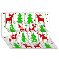 Reindeer Elegant Pattern Merry Xmas 3d Greeting Card (8x4) by Valentinaart