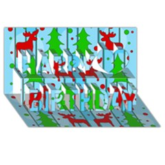 Xmas Reindeer Pattern   Blue Happy Birthday 3d Greeting Card (8x4) by Valentinaart
