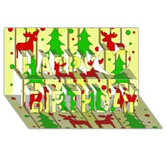 Xmas Reindeer Pattern   Yellow Happy Birthday 3d Greeting Card (8x4) by Valentinaart