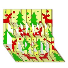Xmas Reindeer Pattern   Yellow Thank You 3d Greeting Card (7x5) by Valentinaart