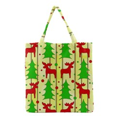 Xmas Reindeer Pattern   Yellow Grocery Tote Bag by Valentinaart