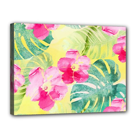 Tropical Dream Hibiscus Pattern Canvas 16  X 12  by DanaeStudio