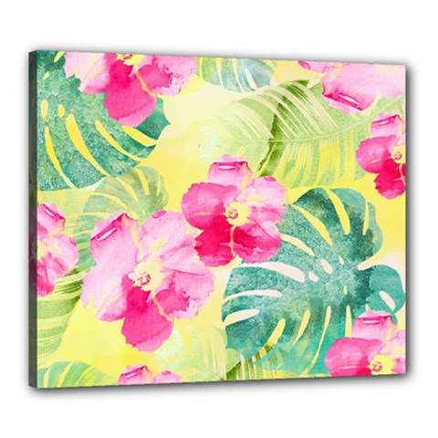 Tropical Dream Hibiscus Pattern Canvas 24  X 20  by DanaeStudio