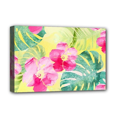 Tropical Dream Hibiscus Pattern Deluxe Canvas 18  X 12   by DanaeStudio