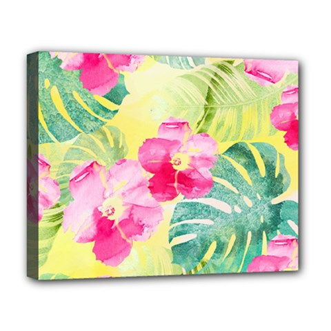 Tropical Dream Hibiscus Pattern Deluxe Canvas 20  X 16   by DanaeStudio