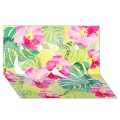 Tropical Dream Hibiscus Pattern Twin Hearts 3d Greeting Card (8x4) by DanaeStudio