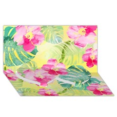Tropical Dream Hibiscus Pattern Twin Heart Bottom 3d Greeting Card (8x4)