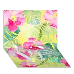 Tropical Dream Hibiscus Pattern Love Bottom 3d Greeting Card (7x5) by DanaeStudio