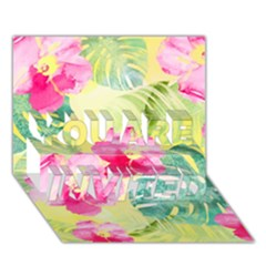 Tropical Dream Hibiscus Pattern You Are Invited 3d Greeting Card (7x5) by DanaeStudio