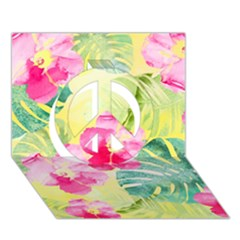 Tropical Dream Hibiscus Pattern Peace Sign 3d Greeting Card (7x5) by DanaeStudio