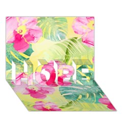 Tropical Dream Hibiscus Pattern Hope 3d Greeting Card (7x5) by DanaeStudio