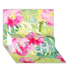 Tropical Dream Hibiscus Pattern Miss You 3d Greeting Card (7x5) by DanaeStudio