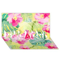 Tropical Dream Hibiscus Pattern Engaged 3d Greeting Card (8x4) by DanaeStudio