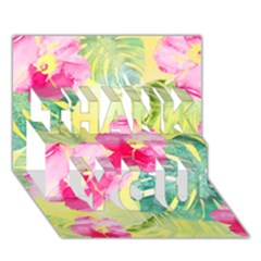 Tropical Dream Hibiscus Pattern Thank You 3d Greeting Card (7x5) by DanaeStudio
