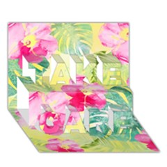 Tropical Dream Hibiscus Pattern Take Care 3d Greeting Card (7x5) by DanaeStudio