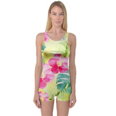 Tropical Dream Hibiscus Pattern One Piece Boyleg Swimsuit by DanaeStudio