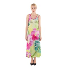 Tropical Dream Hibiscus Pattern Sleeveless Maxi Dress by DanaeStudio