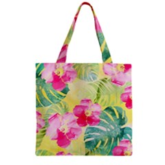 Tropical Dream Hibiscus Pattern Zipper Grocery Tote Bag by DanaeStudio