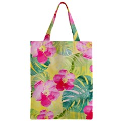 Tropical Dream Hibiscus Pattern Zipper Classic Tote Bag by DanaeStudio