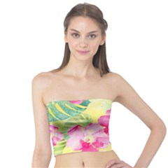 Tropical Dream Hibiscus Pattern Tube Top by DanaeStudio