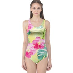 Tropical Dream Hibiscus Pattern One Piece Swimsuit by DanaeStudio