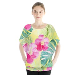 Tropical Dream Hibiscus Pattern Blouse by DanaeStudio