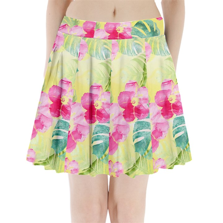 Tropical Dream Hibiscus Pattern Pleated Mini Skirt