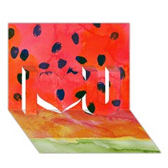 Abstract Watermelon I Love You 3d Greeting Card (7x5) by DanaeStudio