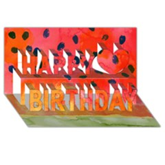 Abstract Watermelon Happy Birthday 3d Greeting Card (8x4)