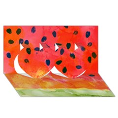Abstract Watermelon Twin Hearts 3d Greeting Card (8x4)