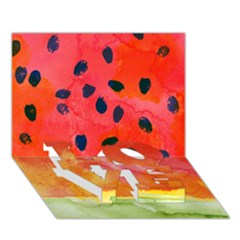 Abstract Watermelon Love Bottom 3d Greeting Card (7x5) by DanaeStudio